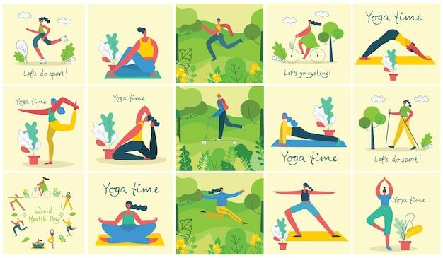 Ilustracja wektorowa w płaskiej konstrukcji grup ludzi uprawiających różne rodzaje sportu na zewnątrz w parku