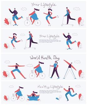 Ilustracja wektorowa w płaskiej konstrukcji grup ludzi uprawiających różne rodzaje sportu