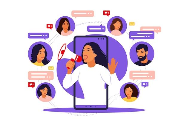 Ilustracja wektorowa w płaskim prostym stylu z postaciami - koncepcja marketingu influencer - usługi i towary promocyjne blogera dla jego obserwujących online.