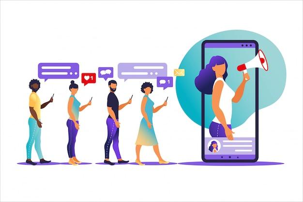 Ilustracja wektorowa w płaskim prostym stylu z postaciami - koncepcja marketingu influencer - usługi i towary promocyjne blogera dla jego obserwujących online