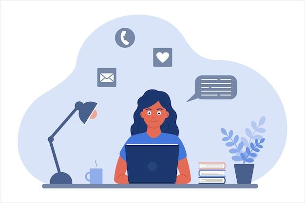 Ilustracja wektorowa w płaskim stylu, gdzie dziewczyna przy stole z książkami patrzy na ekran laptopa