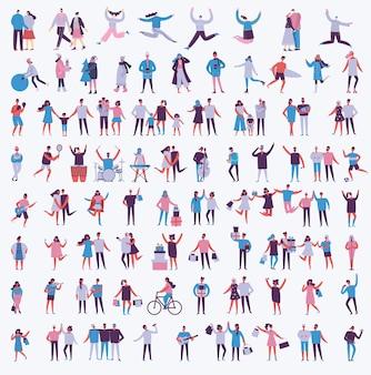 Ilustracja wektorowa w płaskim stylu różnych działań ludzi