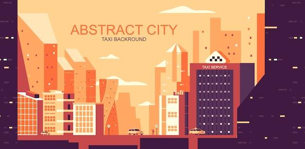 Ilustracja wektorowa w prostym stylu płaski - miejski krajobraz z żółtymi taksówkami