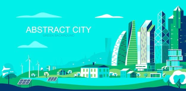Ilustracja wektorowa w prostym stylu płaski - zrównoważony krajobraz miasta z technologiami przyjaznymi dla środowiska