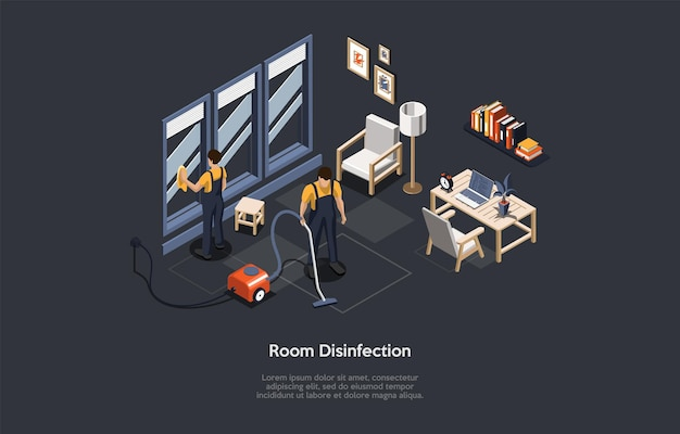 Ilustracja wektorowa w stylu kreskówki 3d. izometryczne skład na ciemnym tle z tekstem. dezynfekcja pokoju, koncepcja usługi sprzątania mieszkania. ludzie w jednolitej oczyszczającej przestrzeni. wnętrze domu.