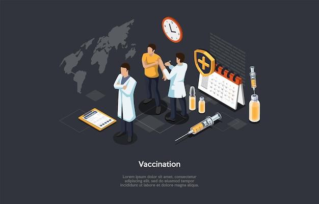 Ilustracja wektorowa w stylu kreskówki 3d. izometryczne skład na ciemnym tle z tekstem. immunizacja szczepionką medyczną, koncepcja procesu szczepień. trzy znaki, element infografiki szpitala