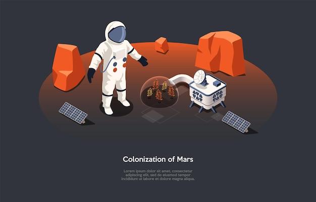 Ilustracja wektorowa w stylu kreskówki 3d. izometryczne skład na koncepcji kolonizacji marsa. ciemne tło, charakter, tekst. kosmiczne futurystyczne idee, innowacje technologiczne i ekspedycje kosmiczne.