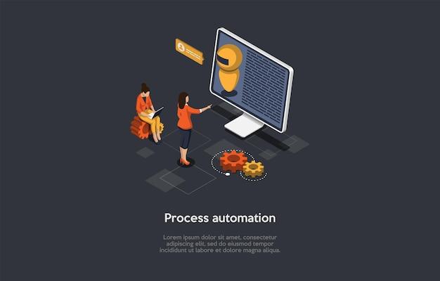 Ilustracja wektorowa w stylu kreskówki 3d. izometryczne skład z postaciami i przedmiotami. koncepcja automatyzacji procesów roboczych. komputer z robotem na ekranie, infografiki. sztuczna inteligencja.
