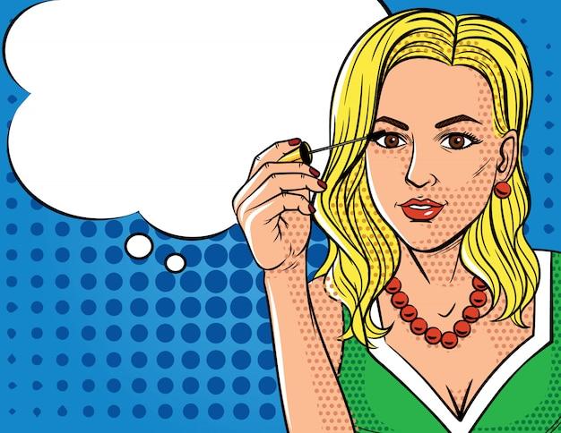 Ilustracja wektorowa w stylu pop-art kobieta robi makijaż. modna kobieta trzyma pędzel do tuszu do rzęs w dłoni