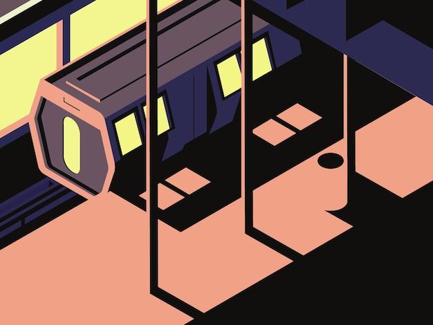 Ilustracja wektorowa wagonu lokomotywy pociągu elektrycznego