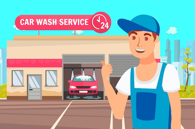 Ilustracja wektorowa warsztat samochodowy i usługi mycia