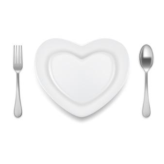 Ilustracja wektorowa widelec talerz w kształcie serca łyżka