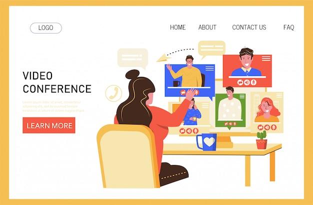 Ilustracja wektorowa wideokonferencji