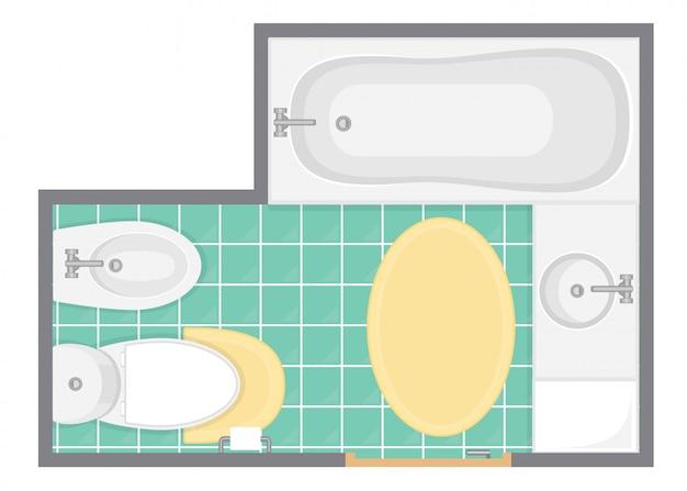 Ilustracja wektorowa widok wnętrza łazienki. plan piętra toalety. płaska konstrukcja.