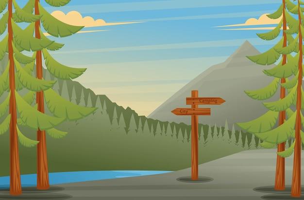 Ilustracja wektorowa widoku lasu ze wskaźnikiem na kemping