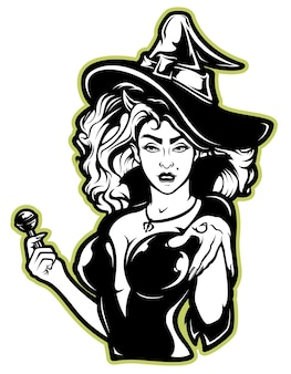 Ilustracja wektorowa wiedźmy na halloween na białym tle