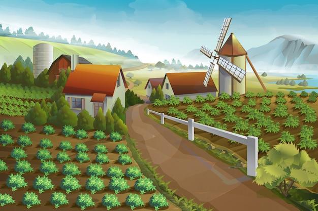 Ilustracja wektorowa wiejskiego krajobrazu gospodarstwa