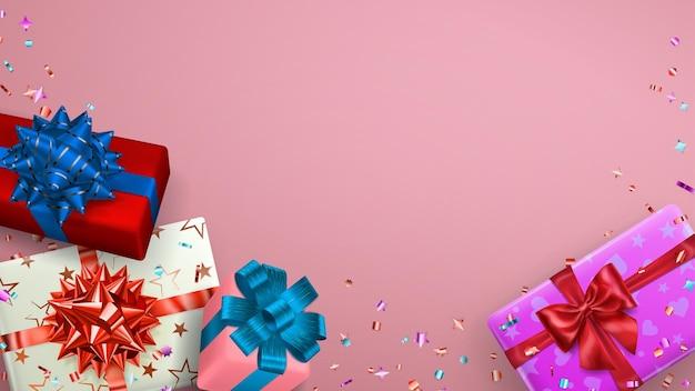 Ilustracja wektorowa wielobarwnych pudełek prezentowych ze wstążkami, kokardkami i cieniami oraz małymi błyszczącymi kawałkami serpentyny na różowym tle