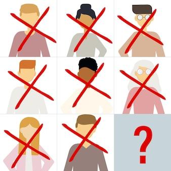 Ilustracja wektorowa wielu portretów różnych mężczyzn i kobiet przekreślonych. pytanie brzmi, kto jest następny