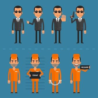 Ilustracja wektorowa, więźniowie i ochroniarz w różnych pozach, format eps 10.