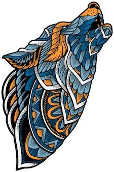 Ilustracja wektorowa wilka na koszulkę, kubek, odzież lub biznes, który chceszines