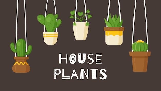 Ilustracja wektorowa wiszących wazonów. rośliny domowe w wiszących wazonach. kaktusy, bluszcz w wazonach na linach.