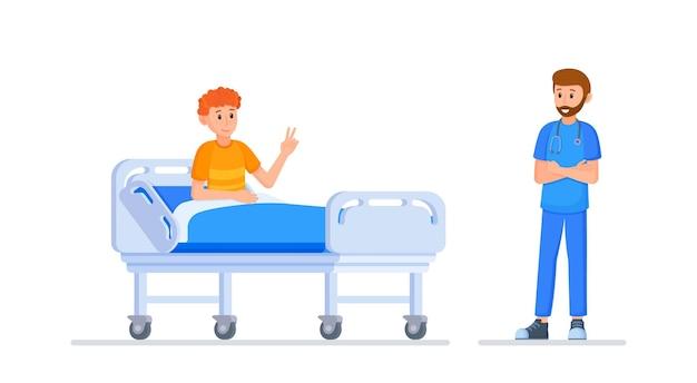 Ilustracja wektorowa wizyty u lekarza. lekarz sprawdzający stan pacjenta. po operacji. iv. poprawa.