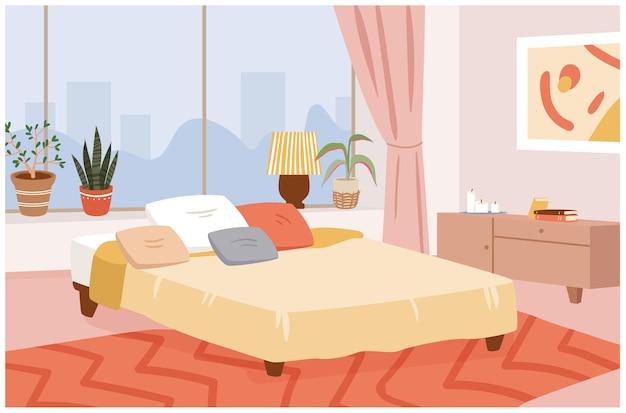 Ilustracja wektorowa wnętrza domu hygge sypialni. kreskówka skandynawski wystrój wnętrz pokoju z nowoczesnym oknem panoramicznym, wygodnym łóżkiem i poduszkami, roślinami domowymi, świecami i tłem lampy