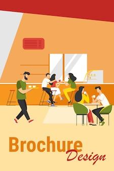 Ilustracja wektorowa wnętrza kawiarni. młodzi mężczyźni i kobiety piją kawę przy stołach lub blacie. nowoczesny obraz kawiarni dla koncepcji stołówki lub cateringu