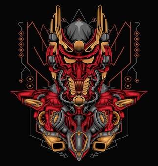 Ilustracja wektorowa wojownika robota