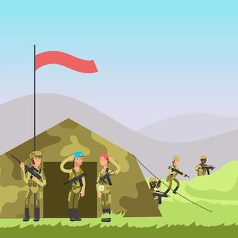 Ilustracja wektorowa wojskowych.