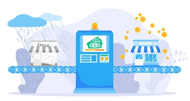 Ilustracja wektorowa wsparcia małych firm. maszyna linii przenośników płaskich z kreskówek wspierająca budowanie biznesu, naprawianie wzrostu pieniędzy finansowych, biznes finansowy