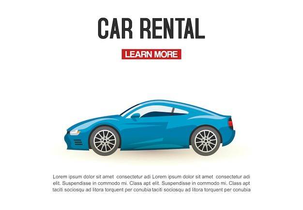 Ilustracja wektorowa wynajem samochodów szablon. nowoczesny niebieski samochód