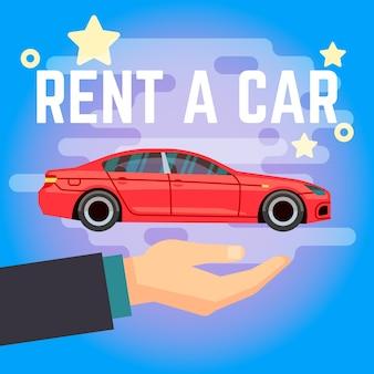 Ilustracja wektorowa wynajem samochodu