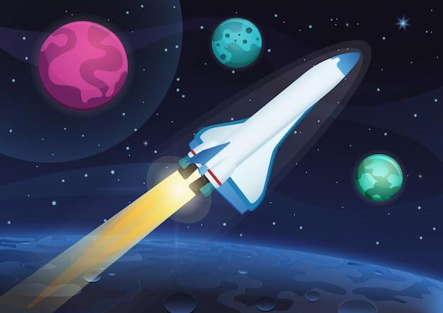 Ilustracja wektorowa wystrzelenia rakiety kosmicznej z ziemi. podróż kosmiczna na obce planety i gwiazdy.
