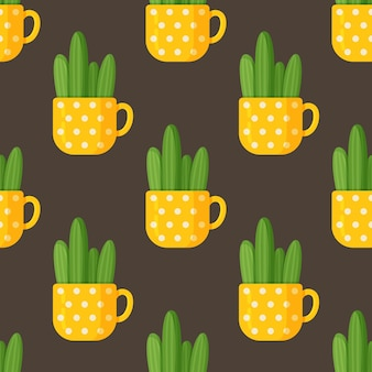 Ilustracja wektorowa wzór kaktusa filiżanki. bezszwowy rysunek długiego kaktusa w pięknej żółtej filiżance. ogromny żółty kubek w białe kropki z kaktusem na brązowym tle.