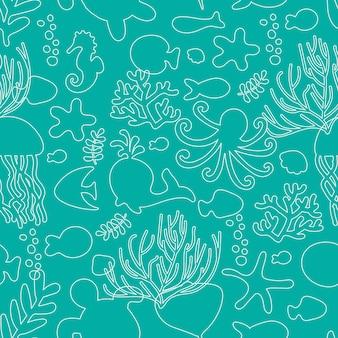 Ilustracja wektorowa. wzór ze zwierzętami morskimi. biała linia na niebiesko. ośmiornica, ryba, wieloryb, konik morski, muszle, wodorosty, rozgwiazdy, żółwie meduzy tekstylia dla dzieci ubrania dla dzieci