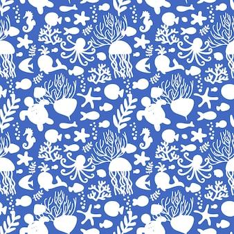 Ilustracja wektorowa. wzór ze zwierzętami morskimi. biały i niebieski. ośmiornica, ryba, wieloryb, konik morski, muszle, wodorosty, rozgwiazdy, żółwie meduzy do tekstyliów dziecięcych odzież do wystroju domu