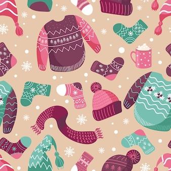 Ilustracja wektorowa wzory zimowe ciepłe ubrania czapki skarpetki brzydki świąteczny sweter szalik kakao