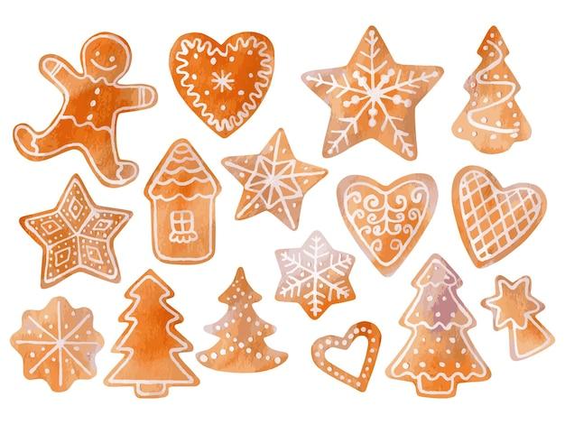 Ilustracja wektorowa z akwarela zestaw słodkich ciasteczek świątecznych do dekoracji świątecznych
