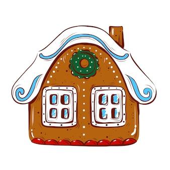 Ilustracja wektorowa z domkiem z piernika na białym tle na białym tle boże narodzenie i nowy rok