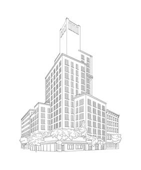 Ilustracja wektorowa z dużym budynkiem w stylu rezydencji w zabytkowym budynku szkic architektury