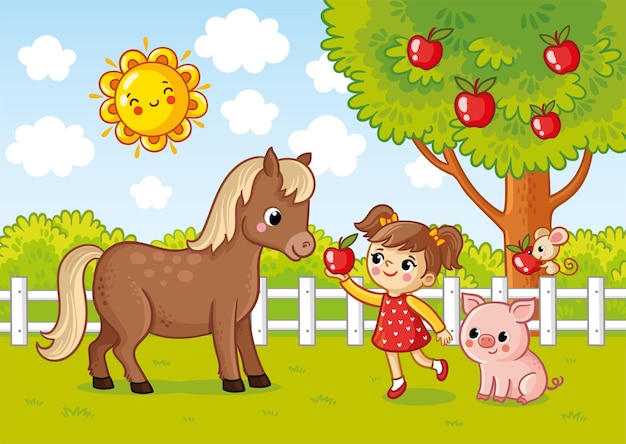 Ilustracja wektorowa z dziewczyną, która daje koniowi jabłko obraz farmy w stylu kreskówki