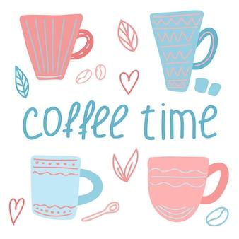 Ilustracja wektorowa z filiżankami kawy i napisem czas kawy w stylu doodle
