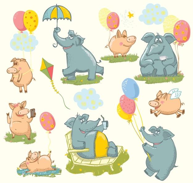 Ilustracja wektorowa z kolorowymi słodkimi słoniami i świniami do projektowania kart okolicznościowych, nadruku koszulki, plakatu inspiracji