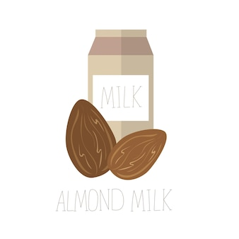 Ilustracja wektorowa z mlekiem migdałowym. koncepcja wektora bez laktozy - nadruk na koszulce z grafiką tekstylną
