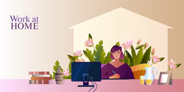 Ilustracja wektorowa z młodym freelancerem, kwitnące kwiaty, zarys domu, komputer, słoik z sokiem.