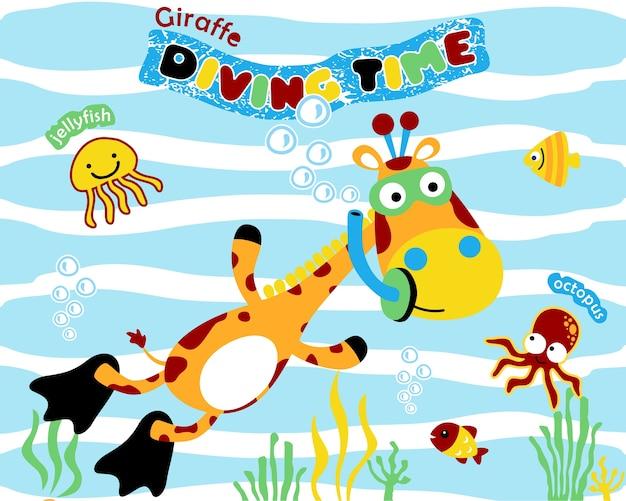 Ilustracja wektorowa z nurkowaniem kreskówka żyrafa