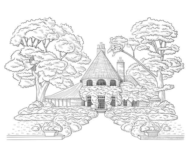 Ilustracja wektorowa z posiadłości wiejskiej w stylu rezydencji szkic architektury budynku