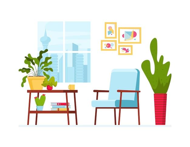 Ilustracja wektorowa z przytulnym wnętrzem. okno z widokiem na miasto, stół z roślinami domowymi i książkami, skandynawski fotel i obraz na ścianie. nowoczesny i elegancki wystrój domu w stylu skandynawskim.